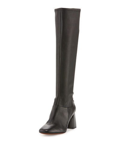 Sidney Leather 70mm Knee Boot, Black