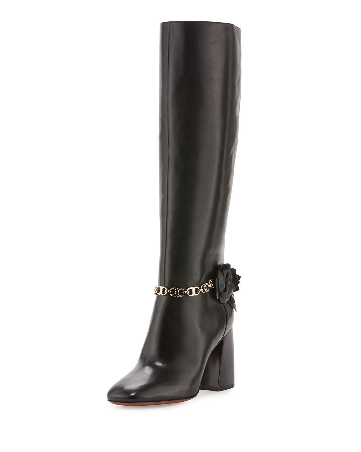 2ef88b46fe35 Tory Burch Blossom Leather 90mm Knee Boot