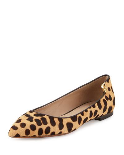 Elizabeth Calf-Hair Pointed-Toe Flat, Leopard Print/Coconut