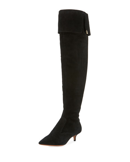 Tory Burch Elizabeth Suede Over-the-Knee Boot, Black