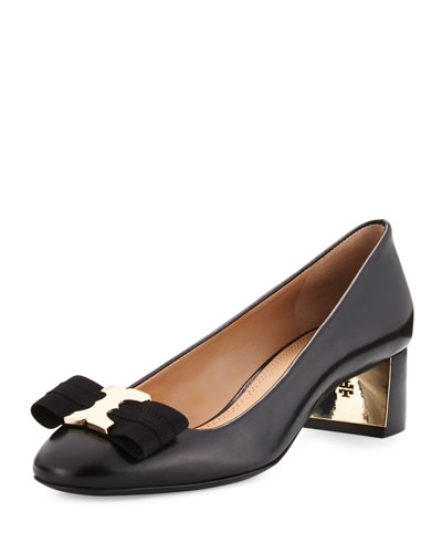 Gemini Link Bow Leather 50mm Pump, Black