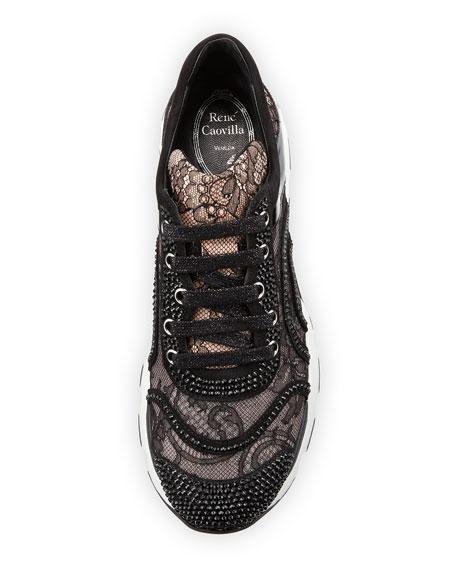 Crystal-Embellished Lace Trainer, Black