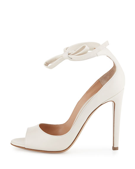 Leather Ankle-Wrap 105mm Pump, White