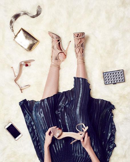Crystal-Embellished Suede Ankle-Wrap Sandal, Beige/Topaz