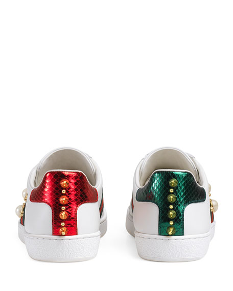 New Ace Studded Web Low-Top Sneaker, White