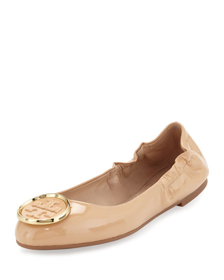 Twiggie Logo Patent Ballerina Flat, Light Oak