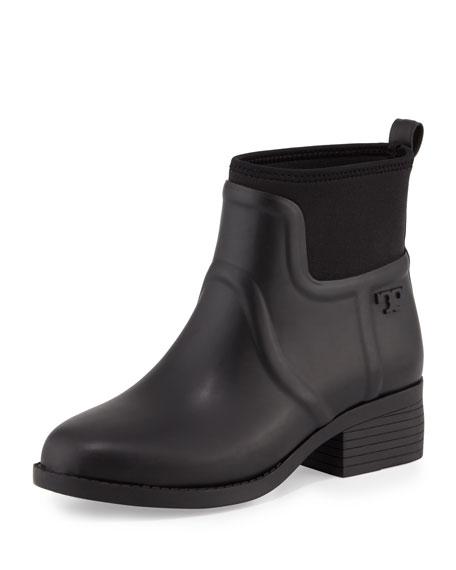 Tory Burch April Short Rain Boot, Black