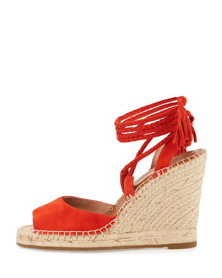 Phyllis Suede Lace-Up Wedge Sandal, Sunset
