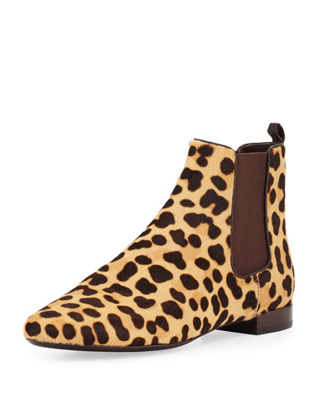 Tory Burch Orsay Calf-Hair Chelsea Boot, Leopard/Coconut