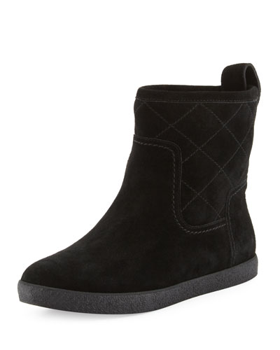 Alana Quilted Shearling Fur Bootie, Black