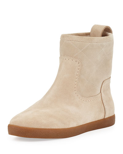 Alana Quilted Shearling Fur Bootie, Light Camel