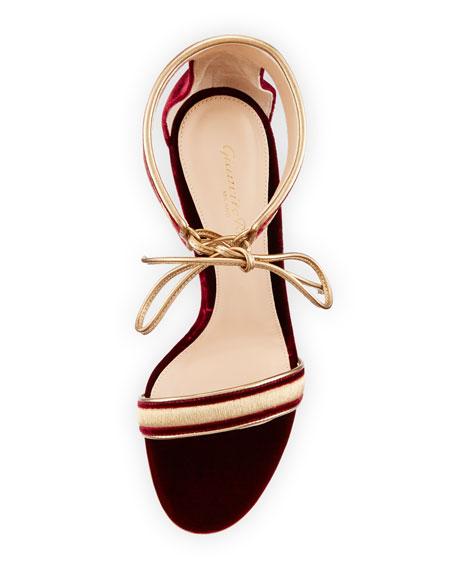 Gianvito Rossi Augusta Velvet Ankle-Wrap Sandal, Granato/Glam