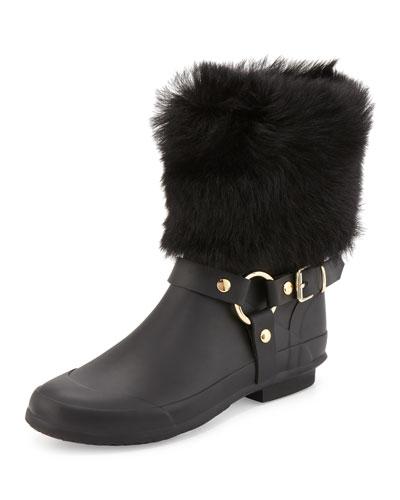 Harbor Fur-Cuff Harness Boot, Black