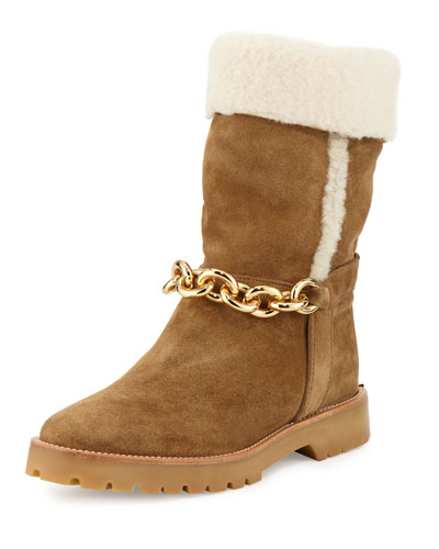 Raywood Fur-Cuff Ankle-Chain Boot, Light Oak Brown