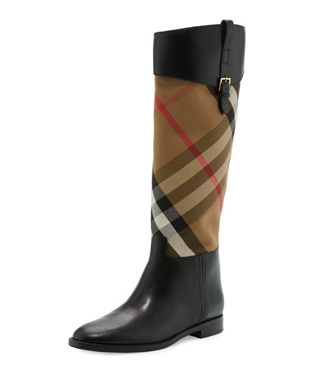 Burberry Copse House Check Rain Boot, Black