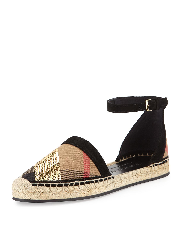 968c47d2fffc Burberry Abbingdon Sequined Check Espadrille Flat Sandal