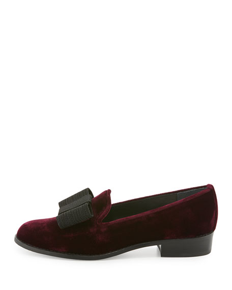 Image 2 of 3: Atabow Velvet Bow Loafer, Bordeaux