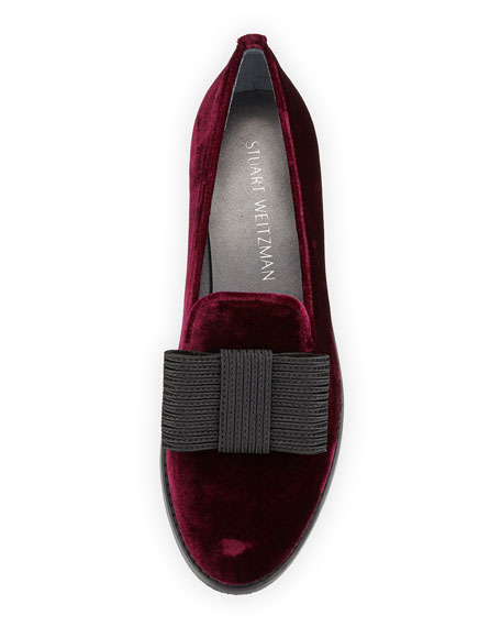 Image 3 of 3: Atabow Velvet Bow Loafer, Bordeaux