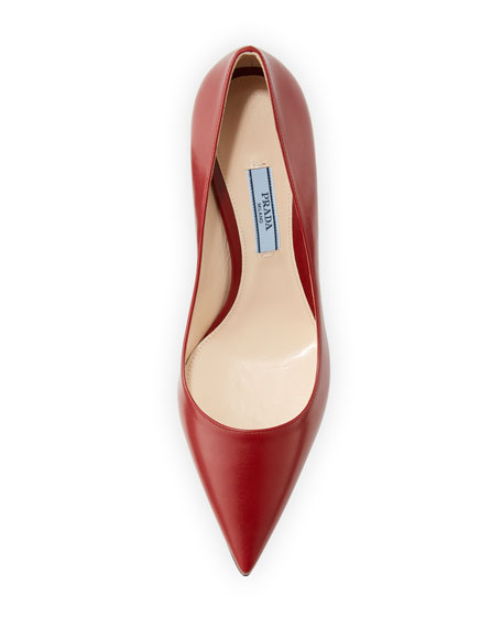 Leather Pointed-Toe 85mm Pump, Red (Cotto)