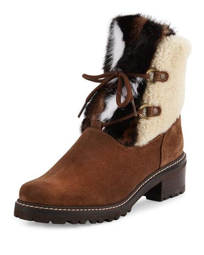 Furnace Shearling Fur Hiker Boot, Brown