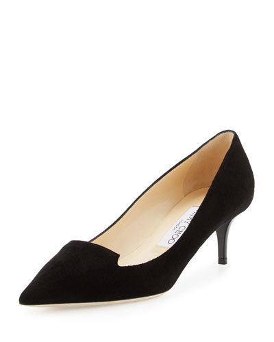 Allure Suede Pointed-Toe Loafer Pump, Navy
