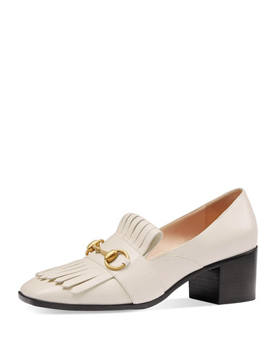 Polly Kiltie Leather 55mm Loafer, Off White