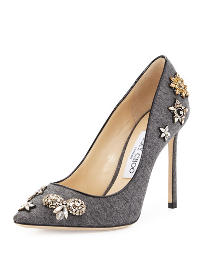 Romy Crystal Flannel 100mm Pump, Gray