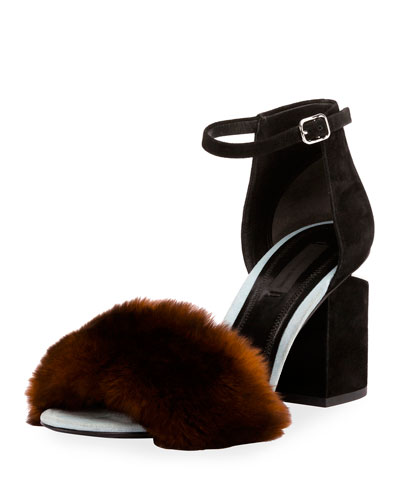 Abby Rabbit-Fur Tilt-Heel City Sandal, Ochre
