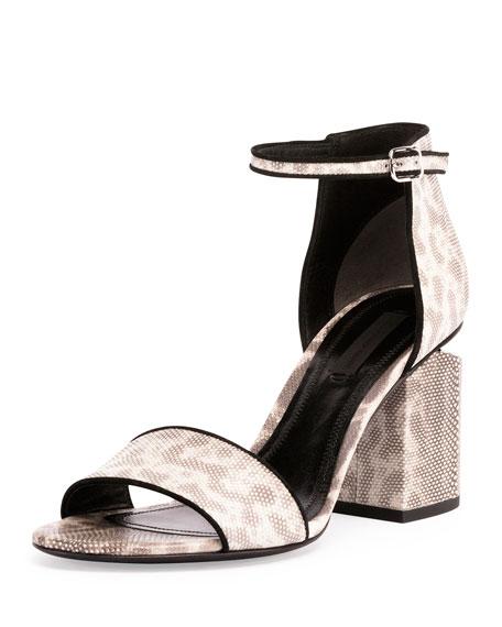 Alexander Wang Abby Snakeskin Tilt-Heel City Sandal, Natural