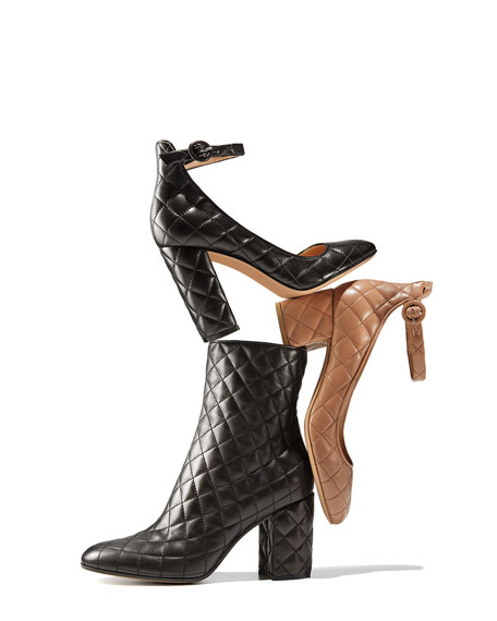 Image 2 of 5: Greta Quilted Ankle-Wrap 100mm Pump, Black
