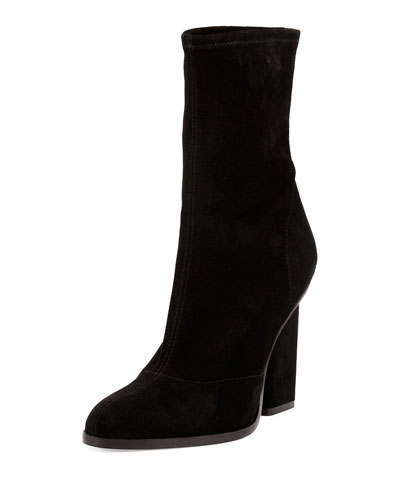 Gia Stretch-Suede Block-Heel Boot, Black