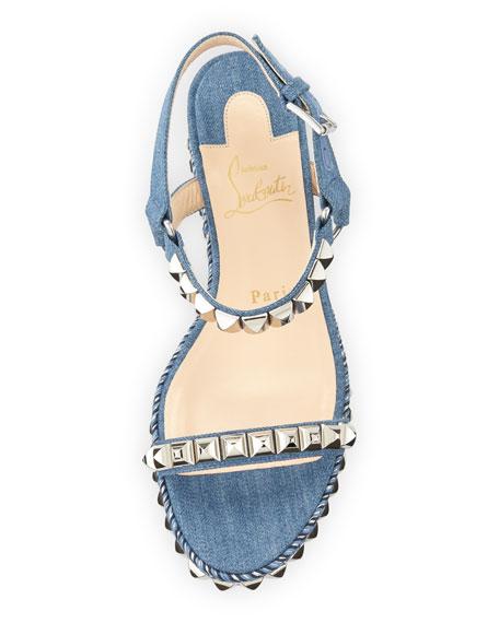 Cataclou Denim 60mm Wedge Red Sole Sandal, Blue/Silver
