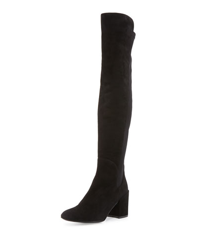 Halftime Suede Over-the-Knee Boot, Black