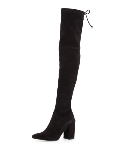 Highstreet Suede Over-The-Knee Boot, Black