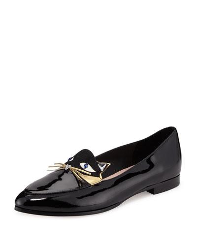 cecilia patent cat loafer flat, black/gold/white