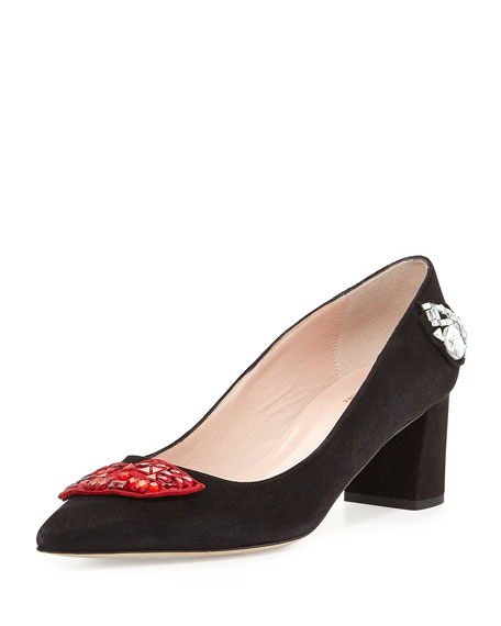 misa kisses pointed-toe pump, black
