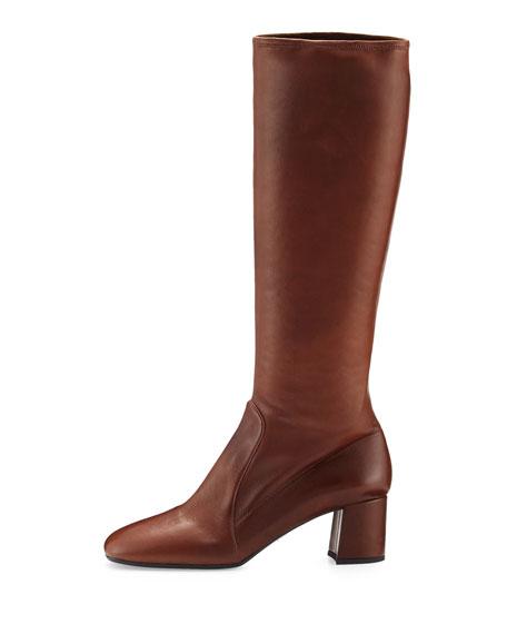 Leather Square-Toe Knee Boot, Burnt (Bruciato)