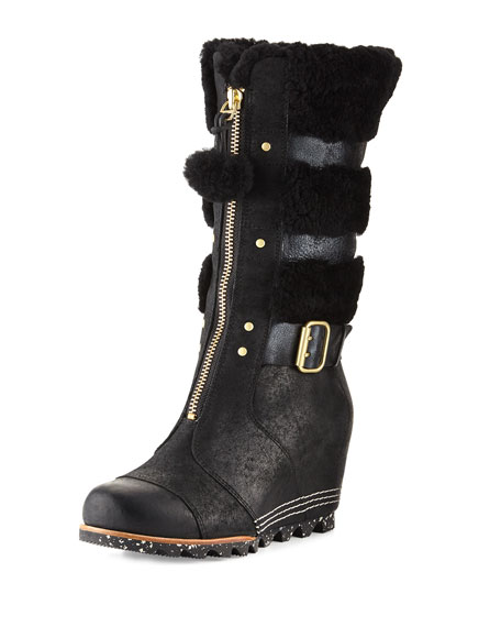 Helen™ Zip-Front Wedge Boot, Black