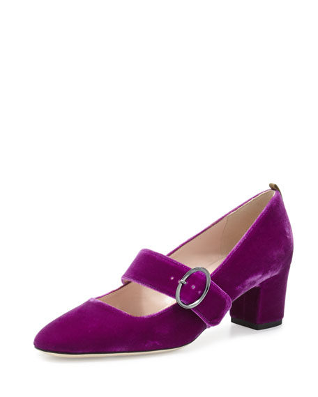 Tartt Velvet Mary Jane Pump, Fuxia
