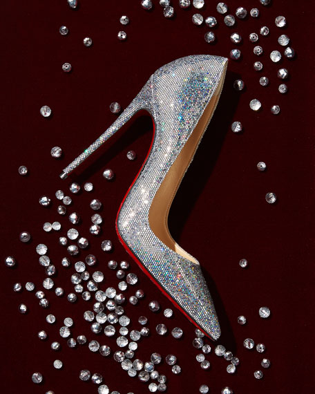 So Kate 120mm Glitter Red Sole Pump, Silver