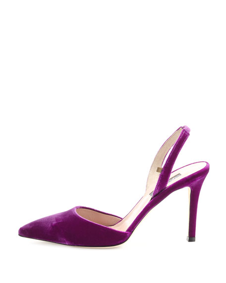 Bliss Velvet 90mm Slingback Pump, Purple