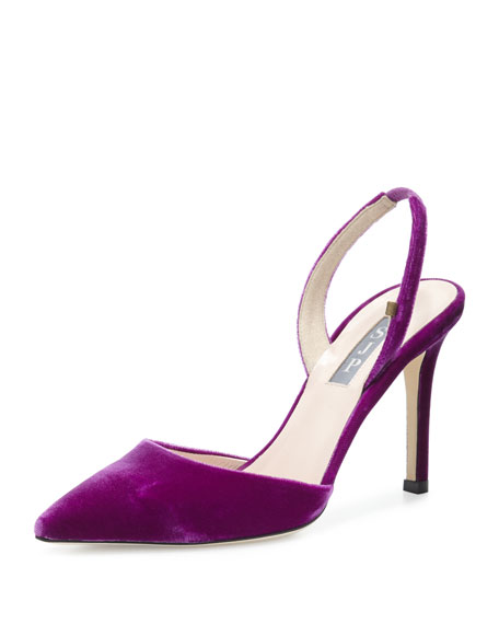 Bliss Velvet 90mm Slingback Pump, Purple by Neiman Marcus