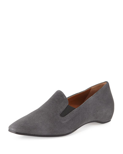 Marianne Square-Toe Suede Flat, Anthracite