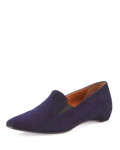 Marianne Square-Toe Suede Flat, Navy
