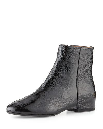 Uri Weatherproof Patent Ankle Boot, Black