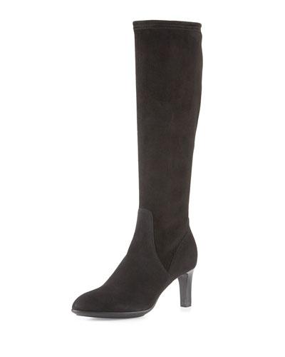 Diane Weatherproof Suede Knee Boot, Black