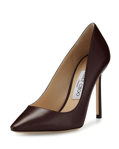 Romy Leather Pointed-Toe 100mm Pump, Burgundy