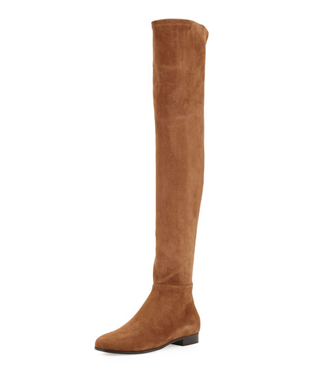 Myren Stretch-Suede Over-the-Knee Boot, Khaki Brown