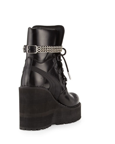 Leather Wedge Chain Ankle Boot, Black