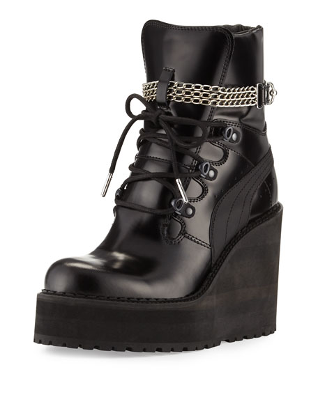 Fenty Puma by Rihanna Leather Wedge Chain Ankle